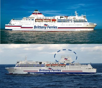 M/V Normandie before and after retroffiting (©: BRITTANY FERRIES)